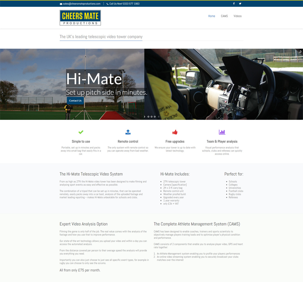 Screenshot of the Cheersmate Video productions website