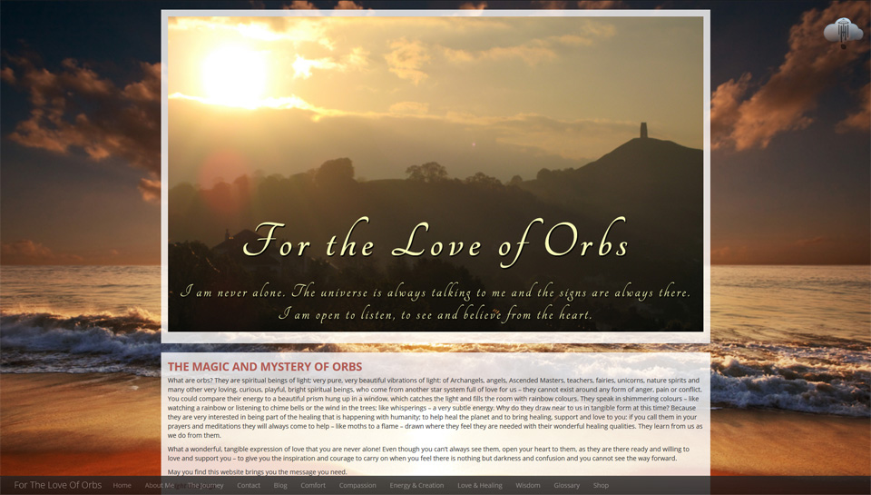 Screenshot of the For the Love of Orbs website