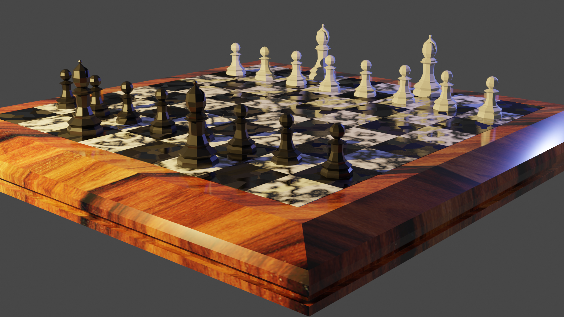 3D rendered chess set